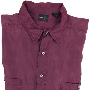 Vintage Structure Thin Purple Silk Shirt Size XL